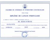 Le diplôme de la Chambre de Commerce et d'Industrie Luso-Française