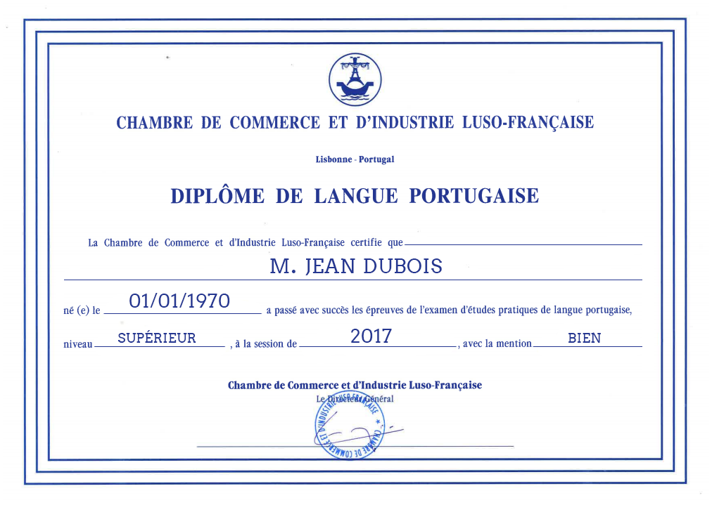 Dipl me de la chambre de commerce d 39 industrie luso for Stage chambre de commerce