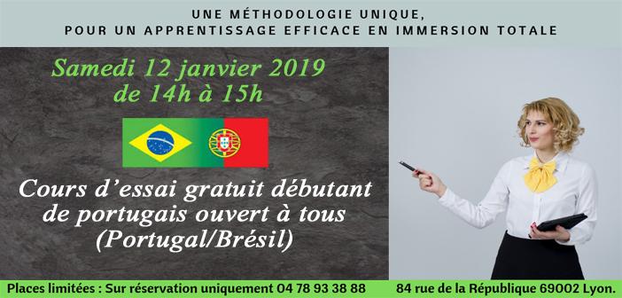 Cours d'essai gratuit en portugais débutant le samedi 12 janvier 2019